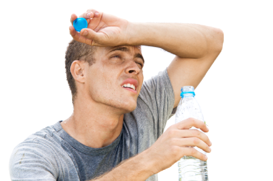Man holding a water bottle on a hot day