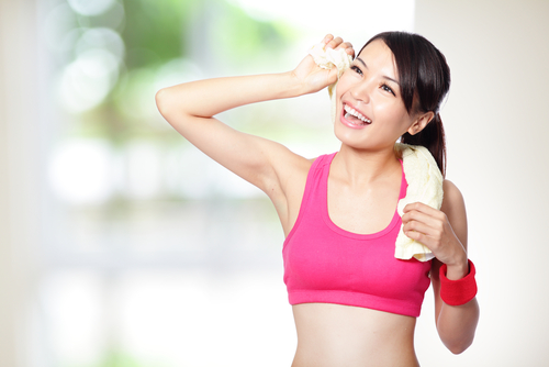 Woman after exercising
