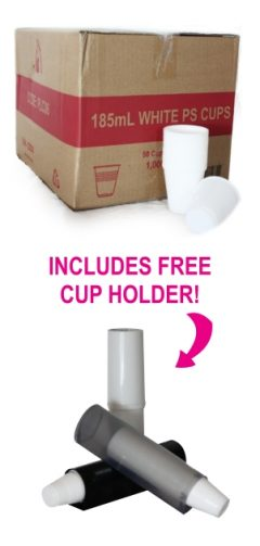 Box of cups with free holder