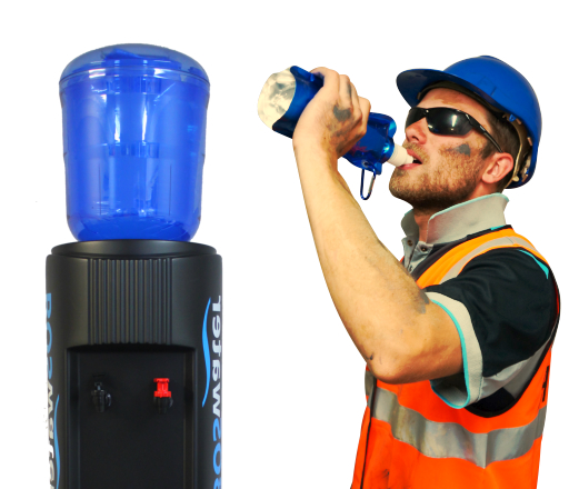 Worker drinking from a bulk spring water bag
